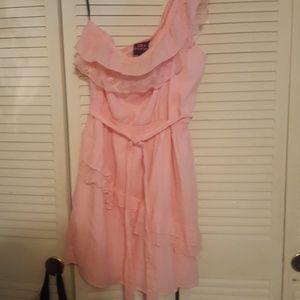 2b bebe pink lace one shoulder dress.